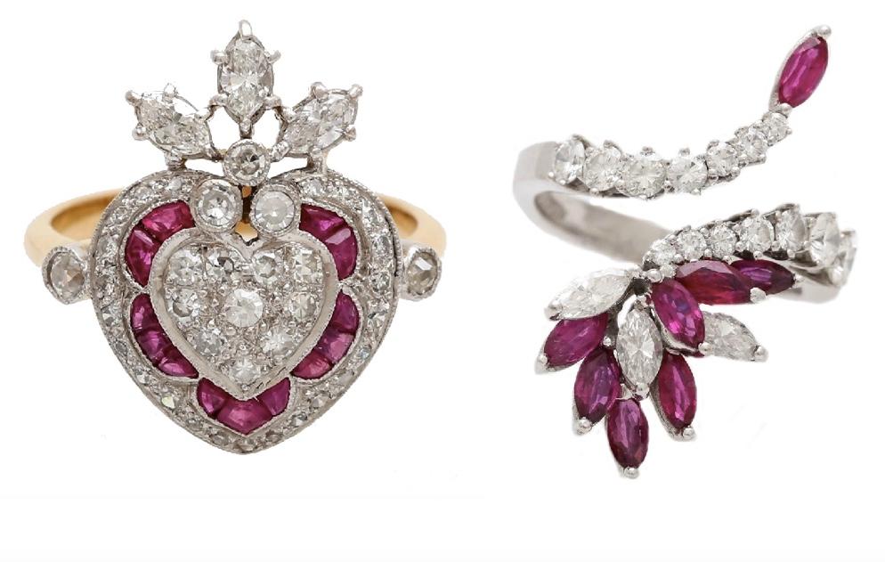Links: GG-Ring mit Rubinen und Diamanten, Mitte 20. Jh. Rechts: Cocktailring aus WG mit Rubin-Navettes (zus. ca. 1,2 ct) und Diamanten, 1970er Jahre
