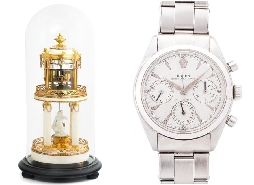 "Links: Tischuhr ""Temple d'amour"" mit Glassturz, wohl Frankreich 2. H. 18. Jh. Rechts: ROLEX - Chronograph Pre-Daytona Ref. 6234, Stahl, 1960"