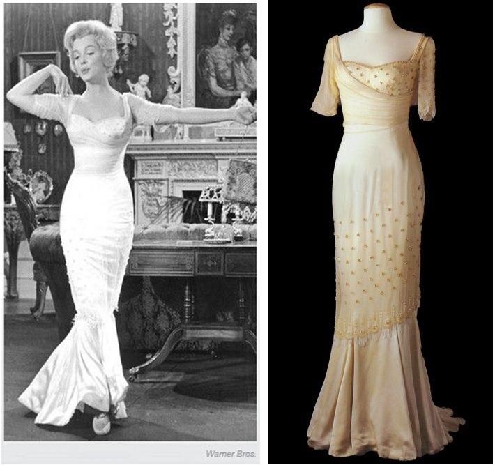 Marilyn a porté une robe de bal en mousseline de soie et de satin dans «Le Prince et la danseuse» en 1957, un film financé par la société de production de Marilyn, images via Pinterest