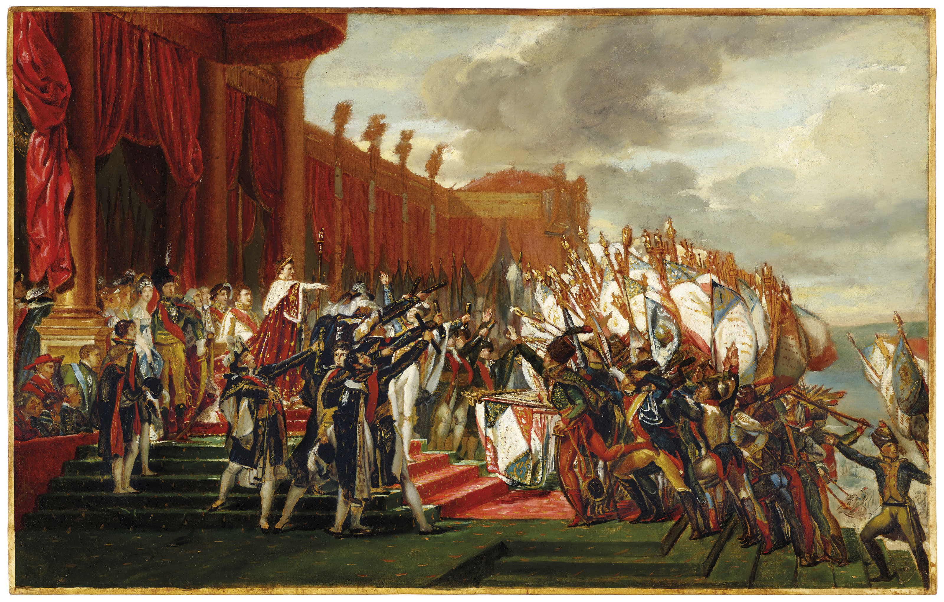 The Distribution of the Eagle Standards, Jacques-Louis David. 1808, oil on paper. Image: Christie's