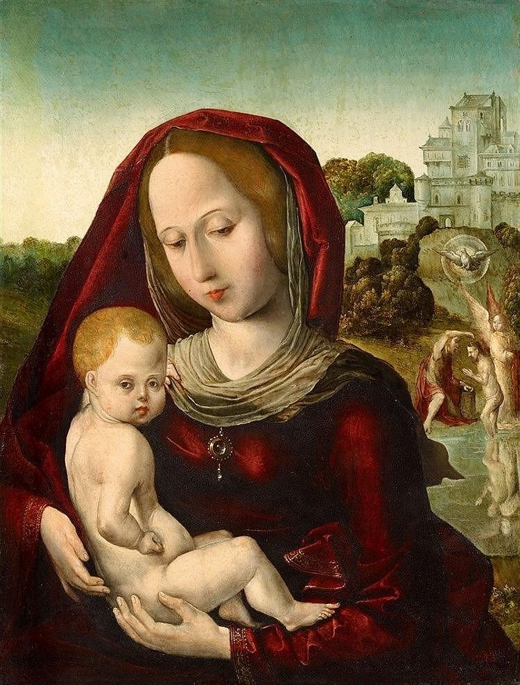 JUAN DE FLANDES (vers 1460 Flandres - 1519 Palencia / Espagne) - La Vierge et l'Enfant, huile sur bois, 43,5 x 33 cm Estimation: 120 000-140 000 EUR