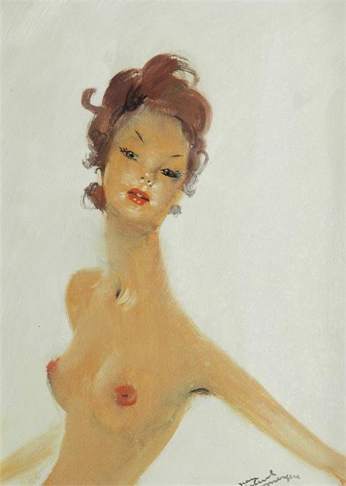 JEAN GABRIEL DOMERGUE (1899 Bordeaux - 1962 Paris) - Halbakt einer jungen Frau mit roten Haaren, Öl/Pressplatte, signiert