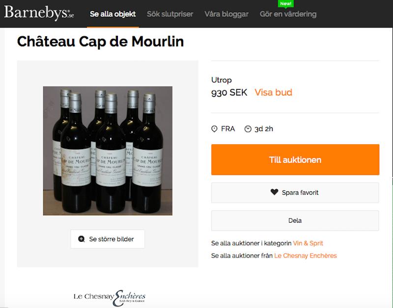 Sex flaskor Château Cap de Mourlin, Grand Cru Classé, Saint-Emilion, årgång 1995. Till försäljning hos Le Chesnay Enchères, en av många vinauktioner hos Barnebys.
