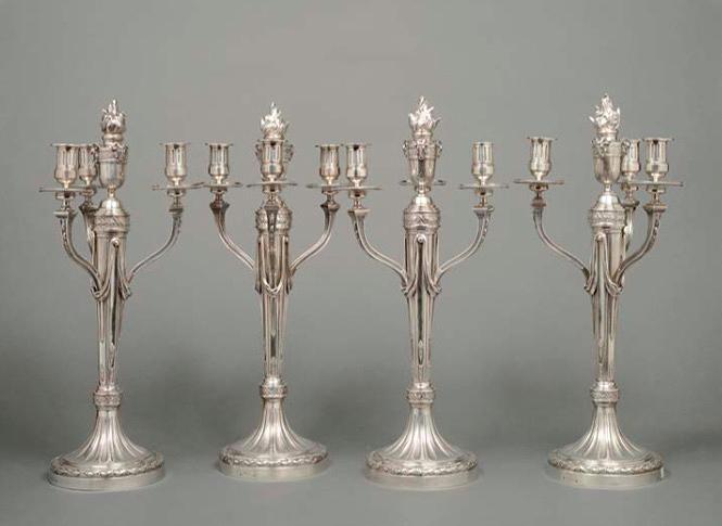 André AUCOC, (1856-1911), suite de quatre chandeliers en argent à trois bras de lumière, image ©HVMC