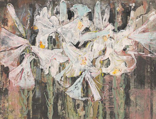 Max Kaus, White Lilies, 1950