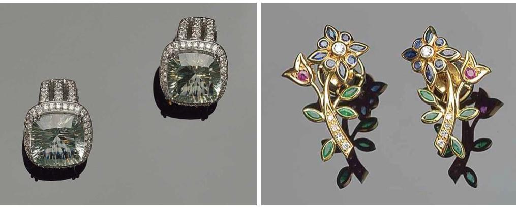 Links: Paar Ohrringe aus Weißgold mit Ametrinen und Brillanten Rechts: Paar Ohrringe aus Gelbgold mit Brillanten, Smaragden, Rubinen und Saphiren