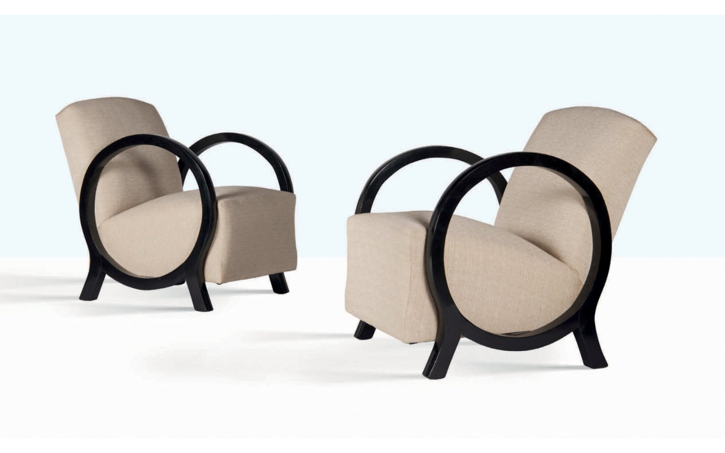 Jacques Adnet, Pair of Armchairs, Beech and Linen Cloth. Photo: Aguttes