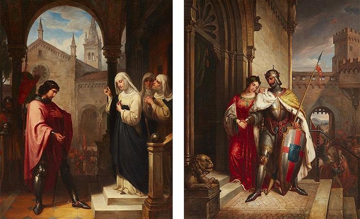 LUDWIG BRÜLS (1803 Urbach bei Köln - 1882 Rom) - Abschied des Ritters / Rückkehr des Ritters, Öl/Lwd., signiert und datiert, 1840/41