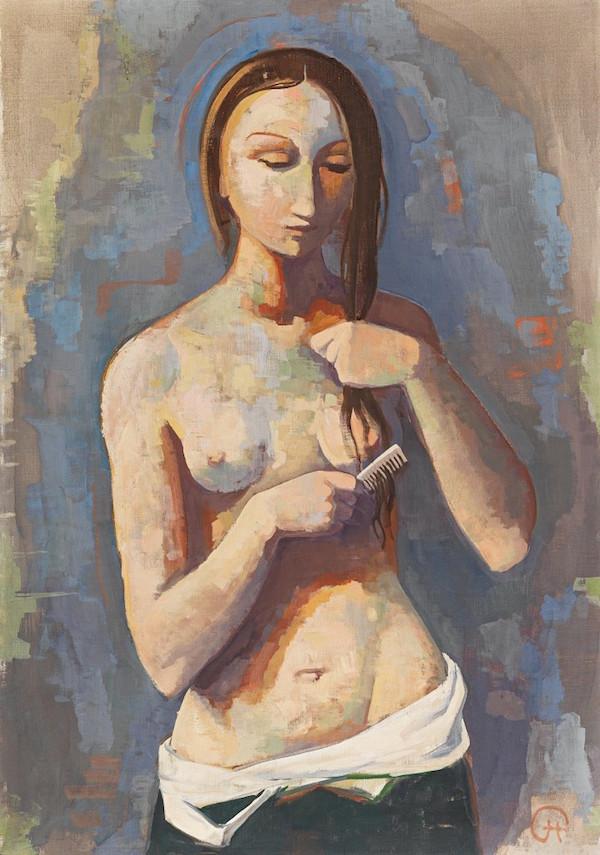 "Karl Hofer, ""Mädchen sich kämmend"", monogramsignerad, omkring 1938. Utropspris: 1,3 - 2,3 miljoner kronor."