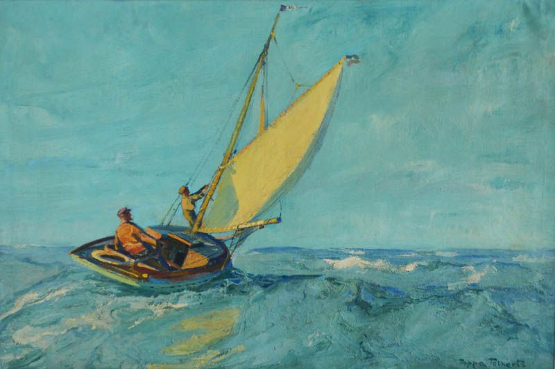 Poppe Folkerts (1875 Norderney - 1949 ebenda) Segler auf hoher See, Öl auf Leinwand, 82,5 cm x 122 cm, unten rechts Poppe Folkerts signiert, Limit: 2800 EUR, Zuschlag : 7000 EUR