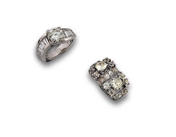 Ringar i 18K vitguld med diamanter, cirka 1850.
