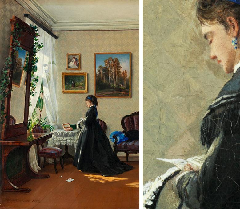 Ivan Ivanovich Shishkin (1832 Jelabuga – 1898 Sankt Petersburg), Junge Frau im Interieur vor einem Fenster am Tisch, Öl/Lwd., vor 1877   Fotos: Hampel