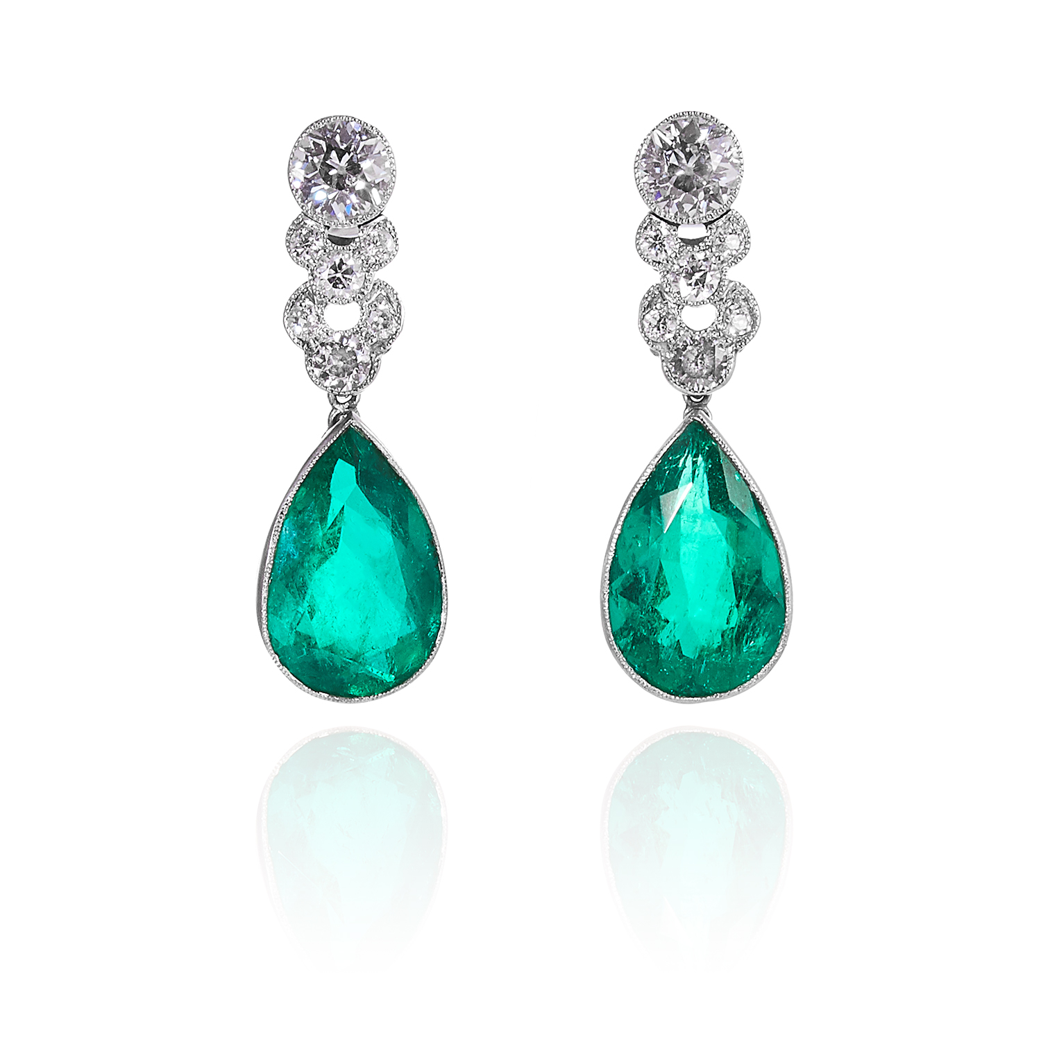 Pair of Colombian Emerald and Diamond Earrings. Photo: Elmwood's
