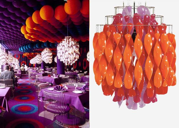 Till vänster: Restaurant Varna, designad av Verner Panton på 70-talet. Till höger: Lampa av Verner Panton, Danmark 1969. Utrop: Wright