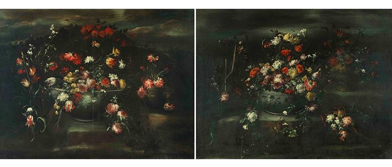 ELISABETTA MARCHIONI (Rovigo, 2. Hälfte 17.Jh.–1. Hälfte 18.Jh.) - Gegenstücke: Blumen in einer Porzellanvase, daneben ein kleinerer Strauss in einer Bronzevase, Öl/Lwd., Signaturreste