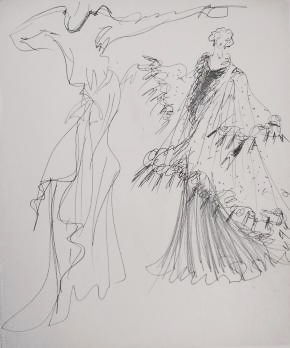 Yves SAINT LAURENT Deux robes pour Edwige (c. 1980), Dessin original au feutre et au crayon sur canson PrivateLot.com