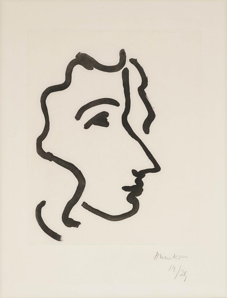 HENRI MATISSE (1869 Le Cateau - 1954 Nizza) - Nadia au profil aigu, Aquatinta, nummeriert und signiert, 1948