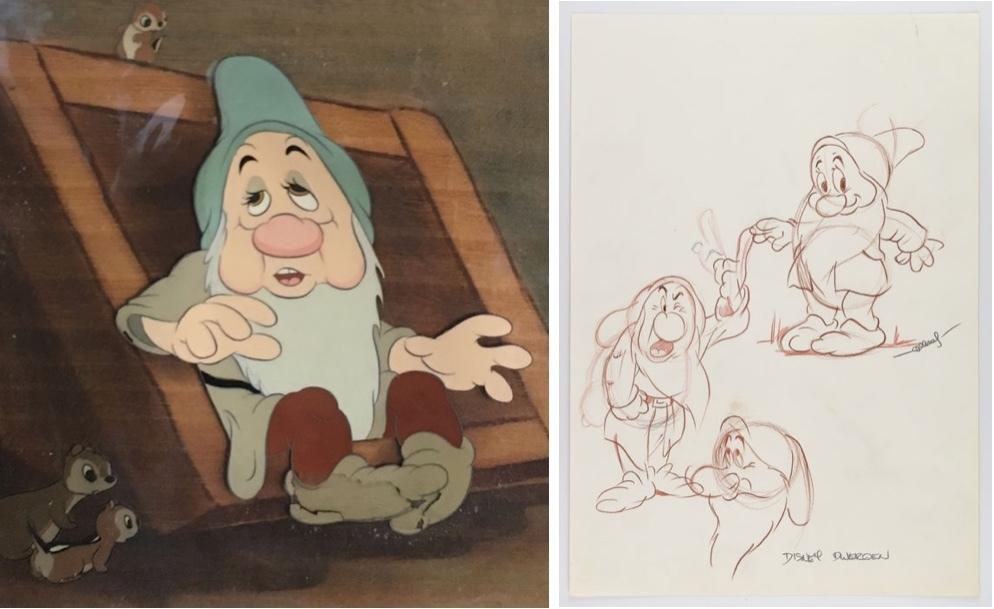 À gauche: Disney Studios - Production originale de Courvoisier Cel, Sleepy - Blanche-Neige et les sept nains, 1937 Droite: Henk Albers - croquis original des nains