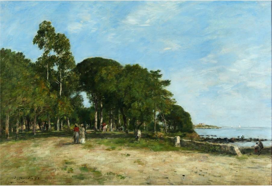 EUGÈNE BOUDIN (1824 Honfleur – 1898 Deauville) - Juan les Pins, la promenade et la baie, Öl/Lwd., signiert und datiert, 1893