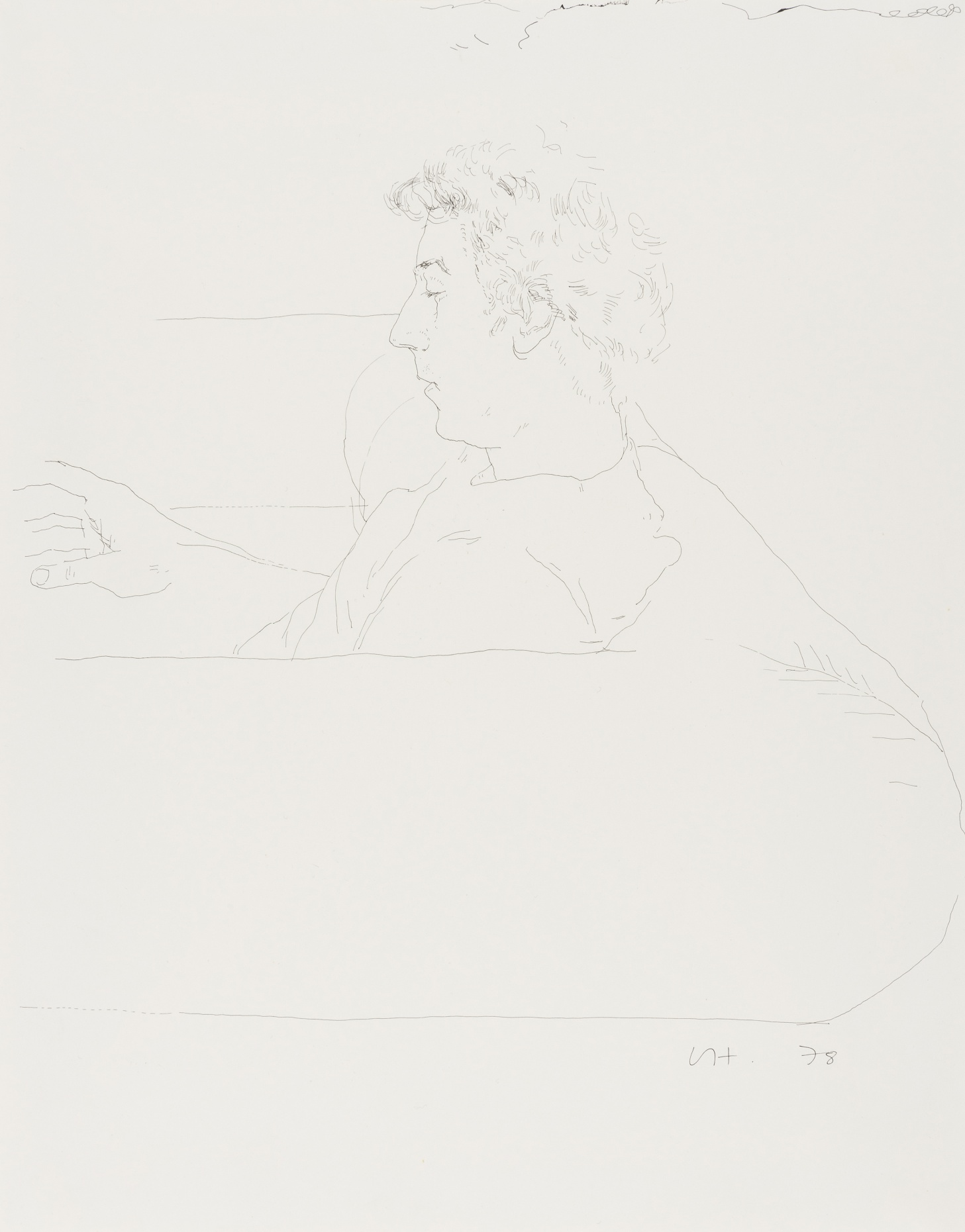 David Hockney, Gregory on a sofa, India ink on paper, 1978, initialled and dated in ink, sheet 35.5 x 27.7 cm (14 x 10 7/8in)Estimate: £25 000-35 000