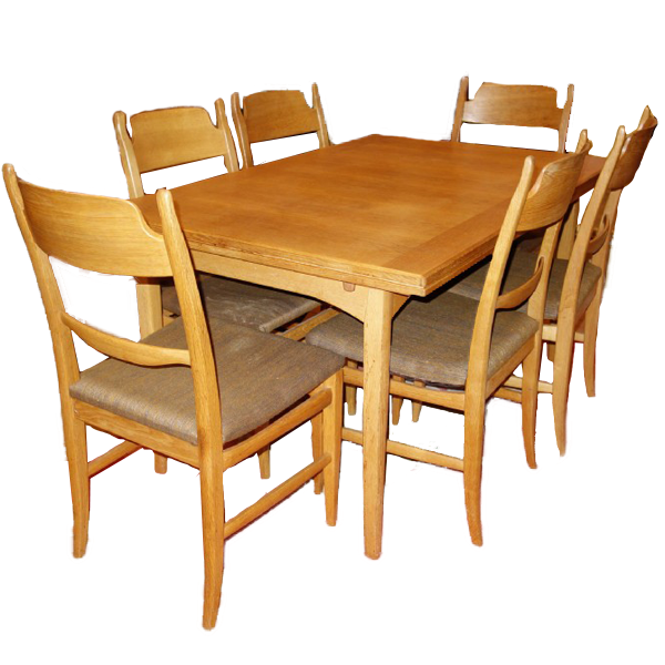 """Matbord med sex stycken stolar, Carl Malmsten, """"Calmare Nyckel"""". Utropspris: 3000 kronor."""