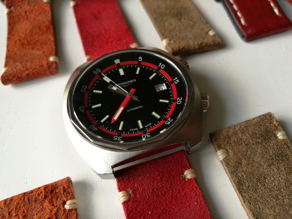 The Longines Heritage Diver on a Red 2-piece Zulu from Zuludiver.