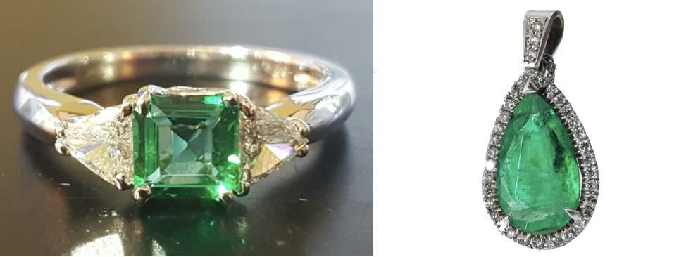 Links: Ring aus Weißgold mit Smaragd und Diamanten Rechts: Anhänger aus Weißgold mit großem Smaragd im Birnenschliff und Diamanten