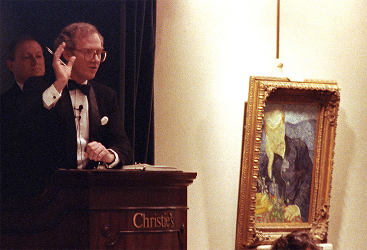 Portrait of Dr. Gachet(1890) av Vincent van Gogh säljs på Christie's 1990. Foto: christies.com