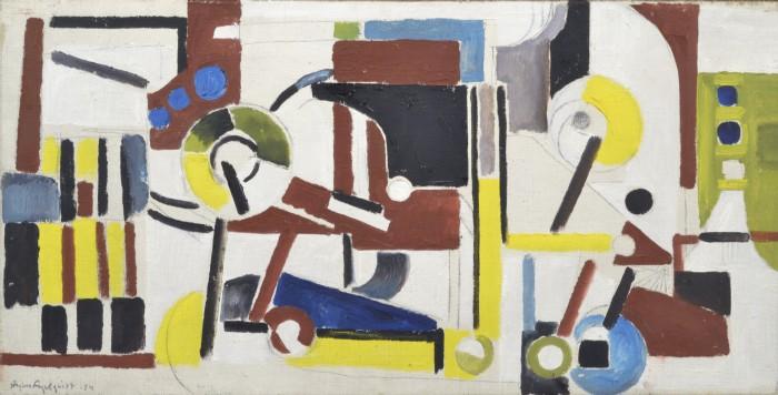 Jörgen Fogelquist, 1927-2005 'Tryckpressen'. Signerad och daterad -54. Olja på duk, 37x73 cm. Utställd på Prins Eugens Waldemarsudde, 2002.