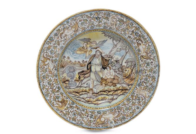 Salver från Castell, målad med motiv av Isaac, 1600-tal.