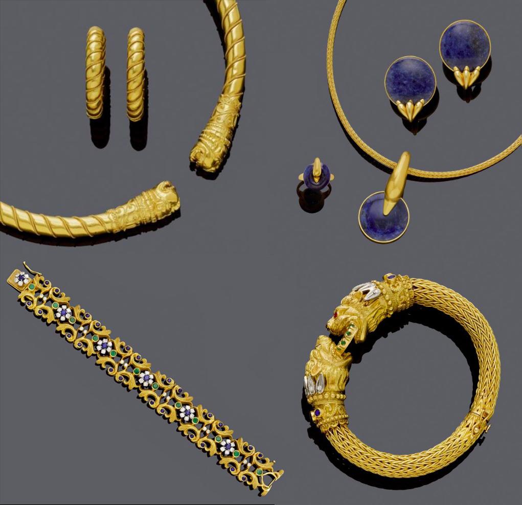 Ilias Lalaounis : parure, parure en sodalite, bracelet, manchette, images ©Koller