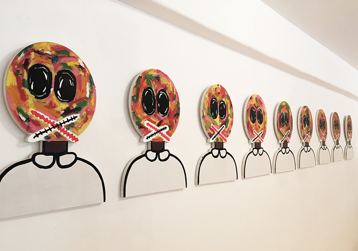 Baby Lollies, Mr. Star City. 2018, 12 wood, acrylic and oil sticks on wood. Courtesy ATO Gallery