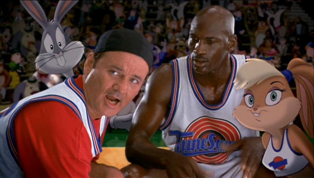 Bill Murray and Michael Jordan in Space Jam, 1996.