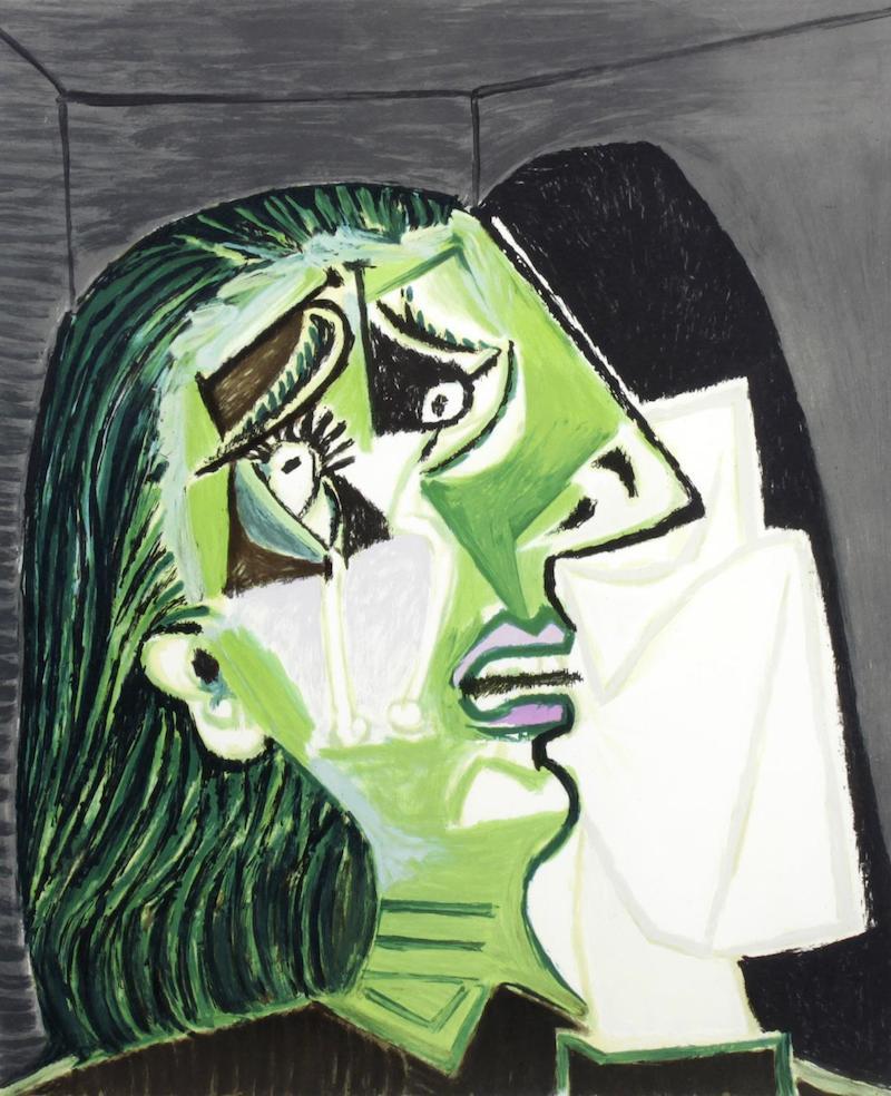 Efter Pablo Picasso, (1881-1973), Femme au Mouchoir, (Gråtande kvinna). Färglitografi av Laurent Marcel Salinas, från 1979-1982 med en upplaga om 500 ex, efter tillstånd av Picassos barnbarn Marina Picasso.