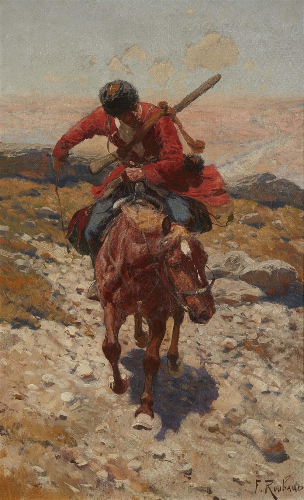 Franz Aleksejewitsch Roubaud (1856 Odessa - 1928 München), Tscherkessischer Reiter, Öl/Lwd., signiert | Foto: Lempertz