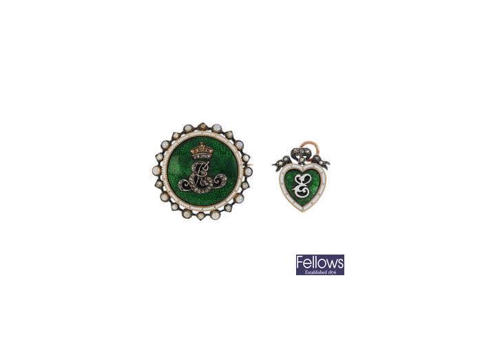 Broche y colgante de perlas, diamantes y esmalte de finales de la época victoriana