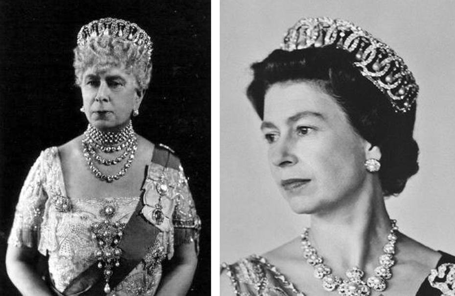 Gauche : la Reine Mary portrait le Diadème Vladimir / Droite : sa petite-fille, la Reine Elizabeth II, portant le bijou en 1968