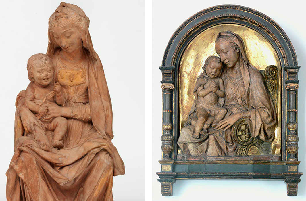 Gauche : Madone à l'enfant qui rit, v. 1472 / Droite : Antonio Rossellino, Madonna and Child, v. 1475, images ©V&A via The Guardian / ©Bode-Museum, Berlin
