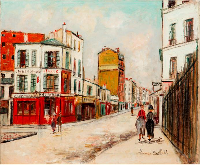 MAURICE UTRILLO (1883-1955)  RUE DU POTEAU, MONTMARTRE  Huile sur toile  Estimation: 60 000-100 000 euros