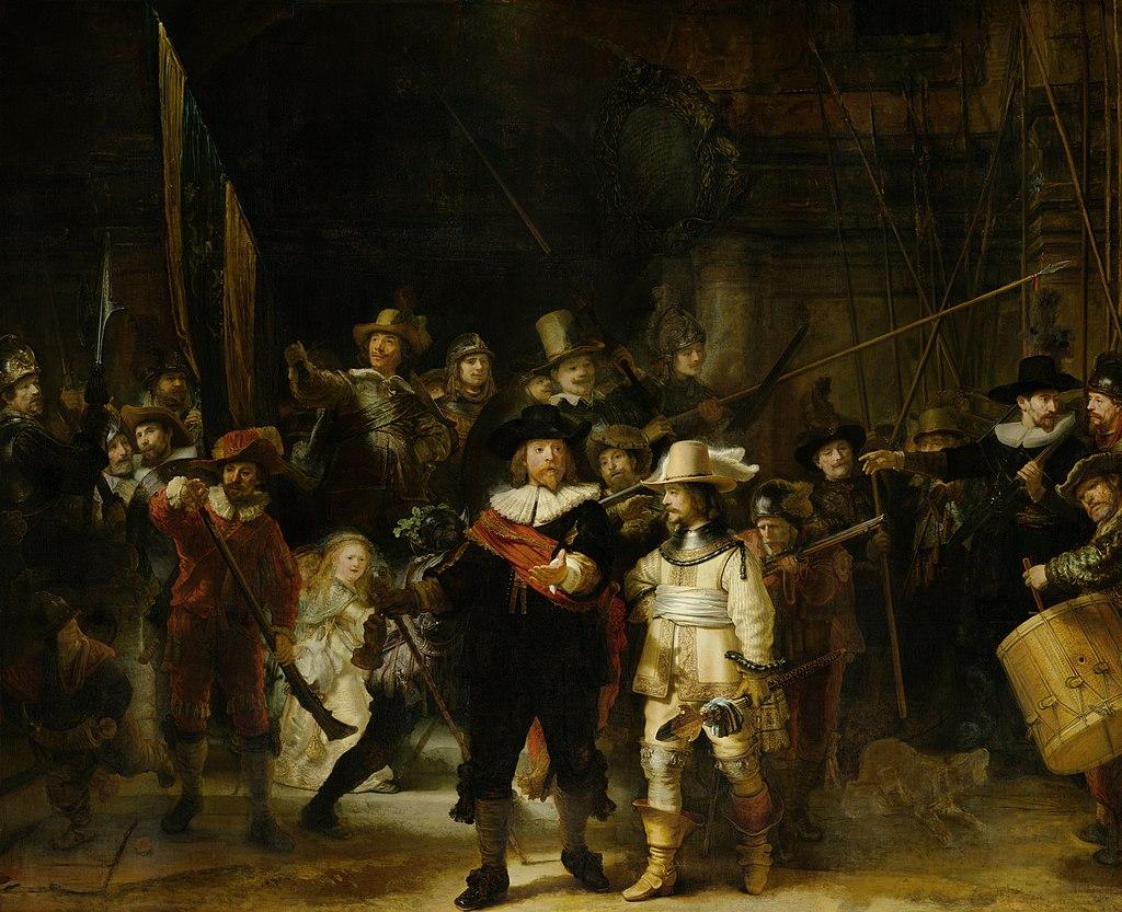 Målningen föreställer en grupp officerare och andra medlemmar av civilgardet i Distrikt II under ledning av Frans Banninck Cocq och Willem van Ruytenburch. Verket gjordes på beställning av medlemmar i Amsterdams civilgarde 1642 och är känt som Rembrandts mest ambitiösa arbete och har varit Rijksmuseums kronjuvel sedan 1808. Galleriet som är dedikerat praktverket på Rijksmuseum besöks av 2 miljoner människor årligen. Bild: Rijksmuseum