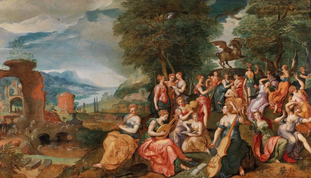 MAARTEN DE VOS (Antwerpen 1532–1603) - Der Wettstreit zwischen den Musen und den Pieriden, Öl/Holz, 77 x 135 cm Schätzwert: 150.000-250.000 EUR