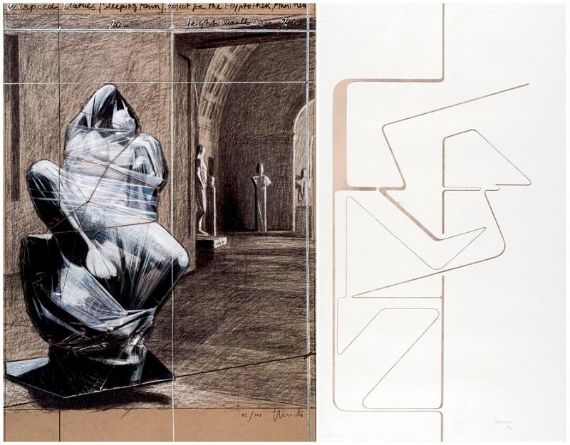 """A sinistra: lotto 339, Christo, """"Fauno addormentato"""", firmato e numerato (92/100), 2000. A destra lotto 340, Pablo Palazuelo, """"Logo II"""". Litografia firmata e numerata (37/75)."""