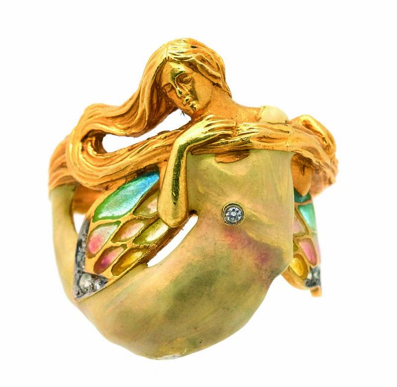 Sortija diseño ninfa de la firma MASRIERA en oro, esmalte y diamantes