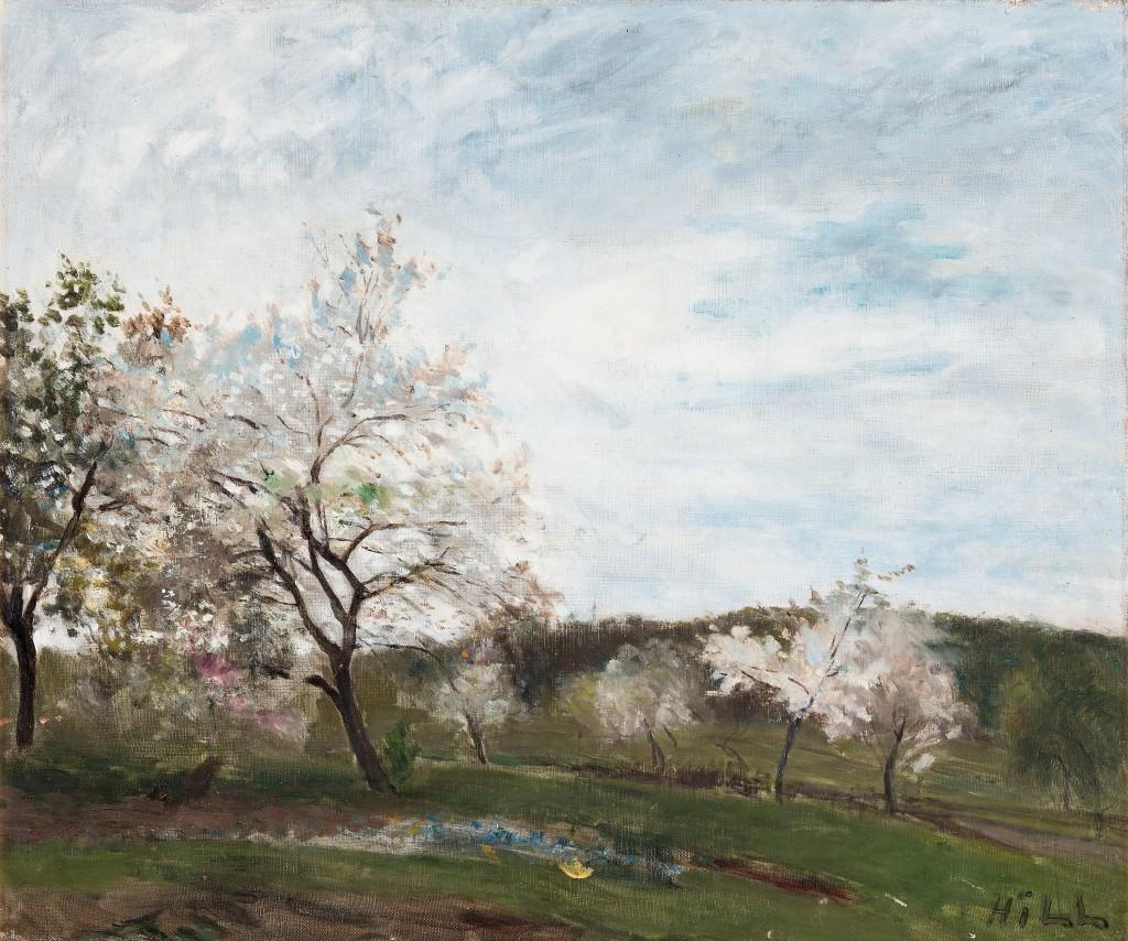 """Carl Fredrik Hill """"Det blommande fruktträdet III"""", 1877. Foto: Bukowskis."""
