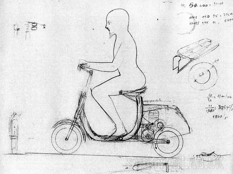 Dibujo original de Corradino d'Ascanio, pruebas de diseño. Imagen vía: ScooterLab
