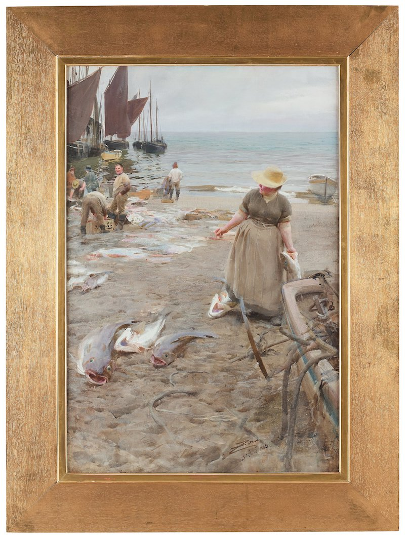 """Dyrast i år. Anders Zorns fantastiska akvarell från 1888 räknas som en av konstnärens främsta målningar. """"Fiskmarknad i St. Ives"""" är utan tvekan en museal målning som har visats på i stort sett alla de viktiga internationella utställningar med konstnären representerad sedan 1900-talets början. Utropet är 18-20 miljoner kronor. Även om motivet inte är en svensk midsommardröm så är det väl värt varenda krona"""