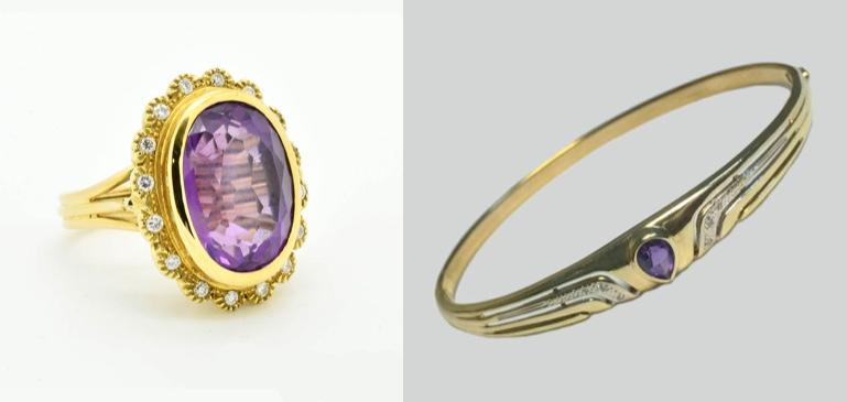 Links: Ring aus Gelbgold mit Amethyst und Diamanten Rechts: Vintage Armreif aus Gelbgold mit Amethyst und Diamanten, um 1950