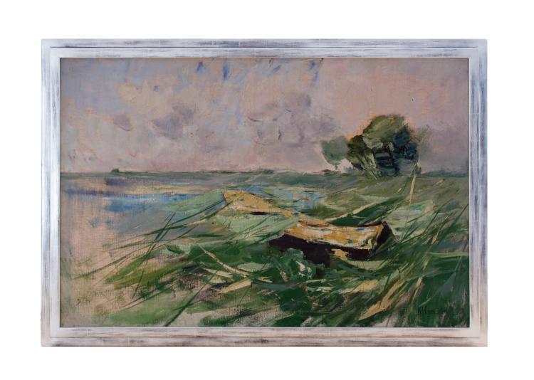 KARL HAGEMEISTER (1848 Werder an der Havel 1933) - Stürmische Uferlandschaft, Öl/Lwd., signiert