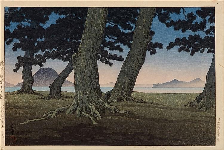 Kawase Hasui (1883-1957) Coucher du soleil au milieu des pins Estimation: 1 500 - 1 600 EUR