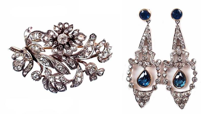 Links: Zitterbrosche (Trembleuse) aus GG und Silber mit Diamanten, um 1820 Rechts: Paar Ohrringe aus WG und GG mit Diamanten und Saphiren